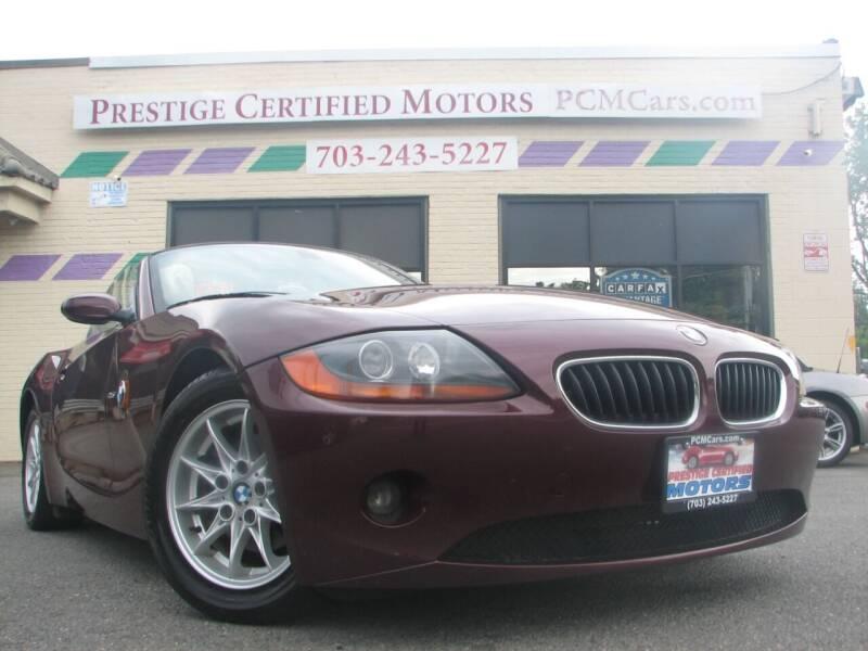 2003 BMW Z4 for sale at Prestige Certified Motors in Falls Church VA