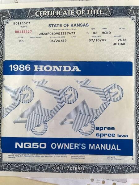 1986 Honda SPREE for sale at Euroasian Auto Inc in Wichita KS