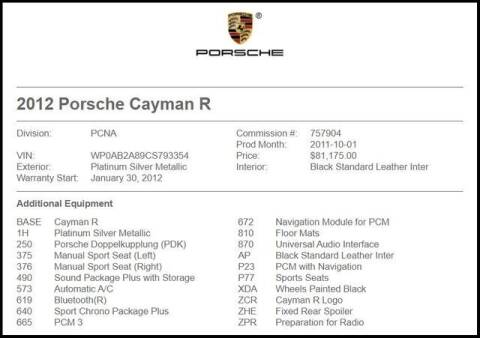 2012 Porsche Cayman for sale at RAC Performance in Carrollton TX