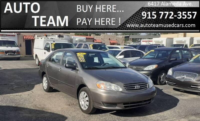 2003 Toyota Corolla for sale at AUTO TEAM in El Paso TX