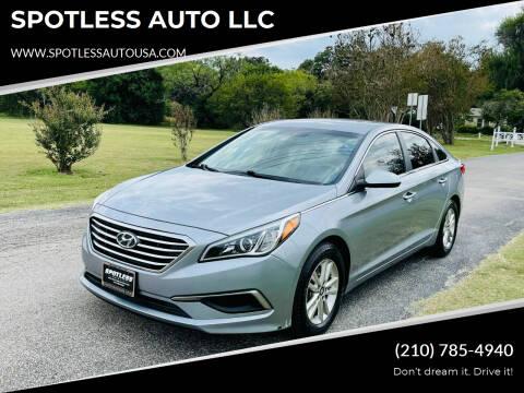 2016 Hyundai Sonata for sale at SPOTLESS AUTO LLC in San Antonio TX