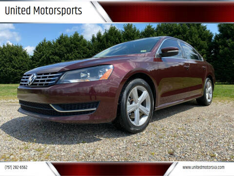 2013 Volkswagen Passat for sale at United Motorsports in Virginia Beach VA