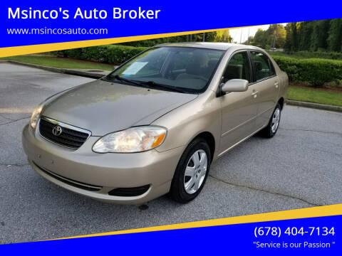 2006 Toyota Corolla for sale at Msinco's Auto Broker in Snellville GA