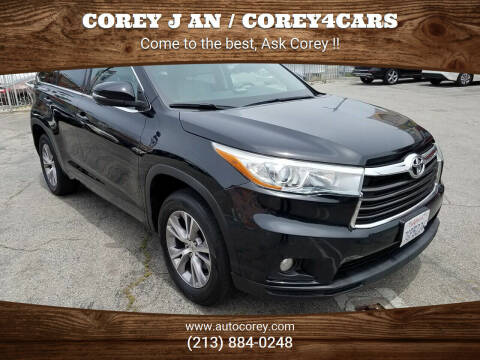 2015 Toyota Highlander for sale at WWW.COREY4CARS.COM / COREY J AN in Los Angeles CA