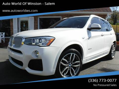 2016 BMW X3 for sale at Auto World Of Winston - Salem in Winston Salem NC