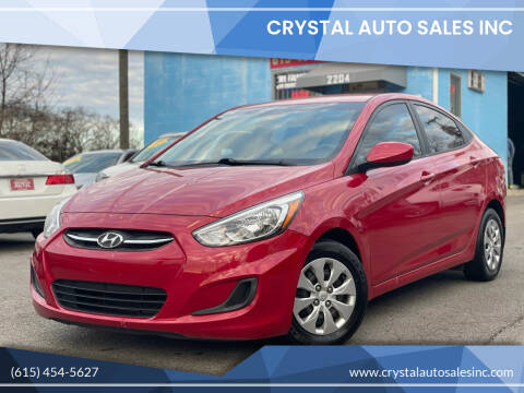 2016 Hyundai Accent for sale at Crystal Auto Sales Inc in Nashville TN