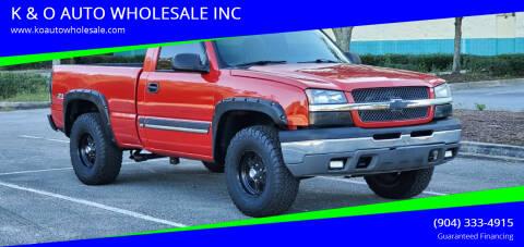 2003 Chevrolet Silverado 1500 for sale at K & O AUTO WHOLESALE INC in Jacksonville FL