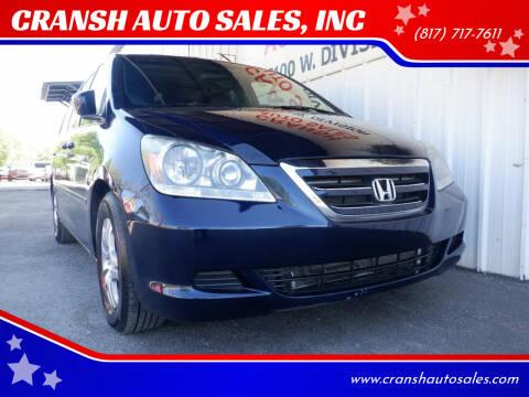 2007 Honda Odyssey for sale at CRANSH AUTO SALES, INC in Arlington TX
