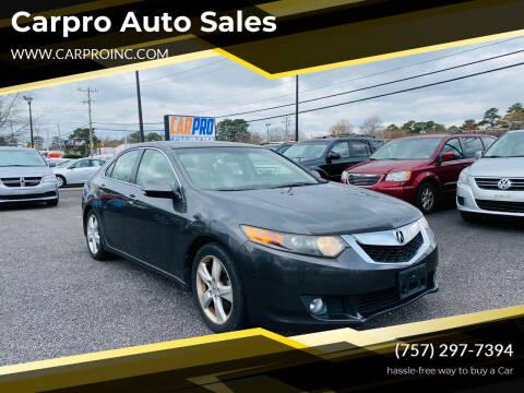 2010 Acura TSX for sale at Carpro Auto Sales in Chesapeake VA
