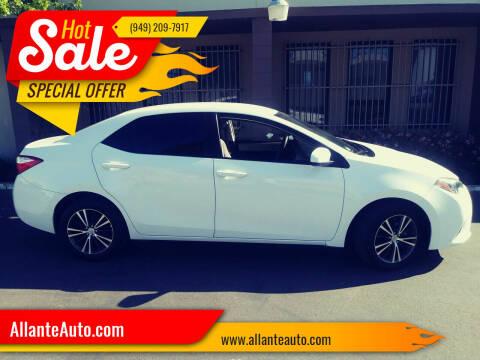 2016 Toyota Corolla for sale at AllanteAuto.com in Santa Ana CA