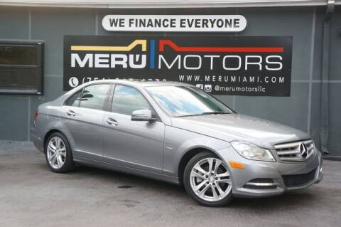 2012 Mercedes-Benz C-Class for sale at Meru Motors in Hollywood FL