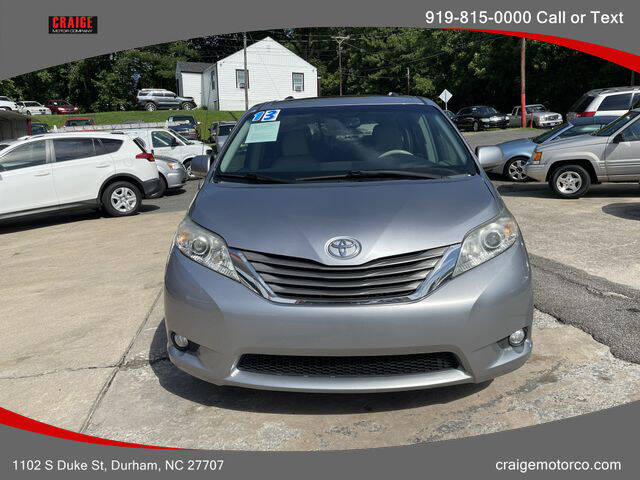 2013 Toyota Sienna for sale at CRAIGE MOTOR CO in Durham NC