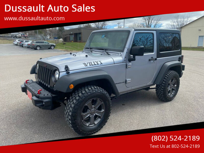 2017 Jeep Wrangler for sale at Dussault Auto Sales in Saint Albans VT