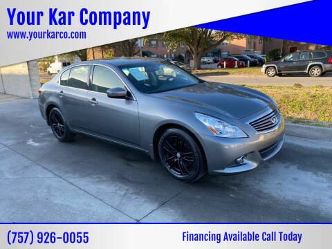2013 Infiniti G37 Sedan for sale at Your Kar Company in Norfolk VA