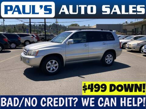 2002 Toyota Highlander for sale at Paul's Auto Sales in Eugene OR