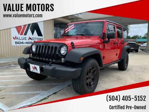 2016 Jeep Wrangler Unlimited for sale at VALUE MOTORS in Kenner LA