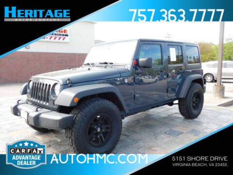 2016 Jeep Wrangler Unlimited for sale at Heritage Motor Company in Virginia Beach VA