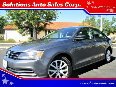 2015 Volkswagen Jetta for sale at Solutions Auto Sales Corp. in Orange CA