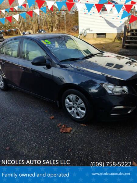 2015 Chevrolet Cruze for sale at NICOLES AUTO SALES LLC in Cream Ridge NJ