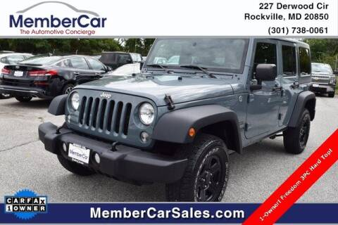 2015 Jeep Wrangler Unlimited for sale at MemberCar in Rockville MD