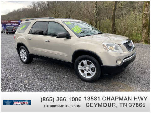 2010 GMC Acadia for sale at Union Motors in Seymour TN