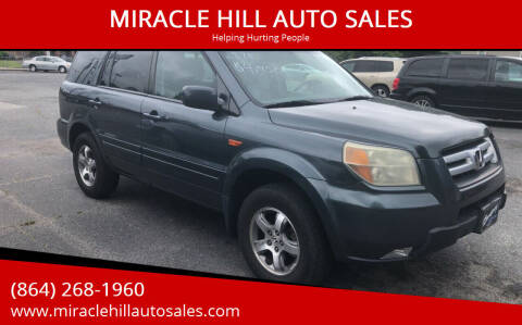 2006 Honda Pilot for sale at MIRACLE HILL AUTO SALES in Greenville SC