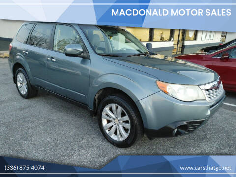 2011 Subaru Forester for sale at MacDonald Motor Sales in High Point NC