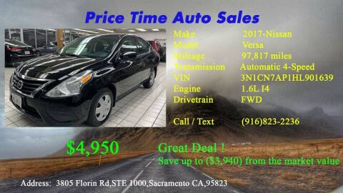 2017 Nissan Versa for sale at PRICE TIME AUTO SALES in Sacramento CA