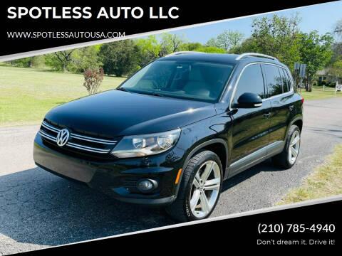 2014 Volkswagen Tiguan for sale at SPOTLESS AUTO LLC in San Antonio TX