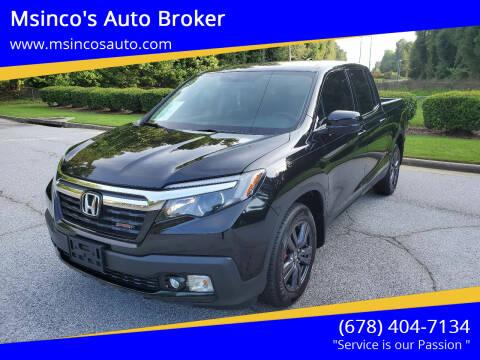 2019 Honda Ridgeline for sale at Msinco's Auto Broker in Snellville GA
