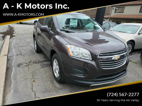2016 Chevrolet Trax for sale at A - K Motors Inc. in Vandergrift PA