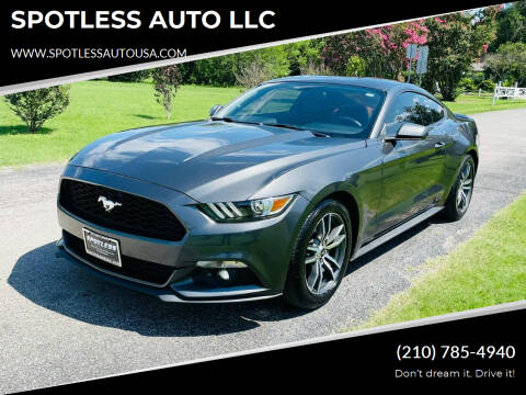 2016 Ford Mustang for sale at SPOTLESS AUTO LLC in San Antonio TX