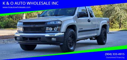 2004 Chevrolet Colorado for sale at K & O AUTO WHOLESALE INC in Jacksonville FL