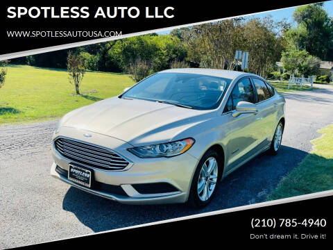 2018 Ford Fusion Hybrid for sale at SPOTLESS AUTO LLC in San Antonio TX