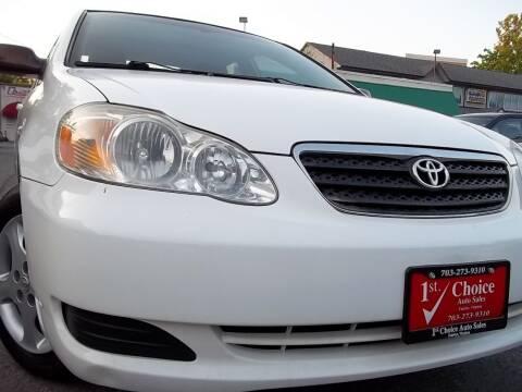 2006 Toyota Corolla for sale at 1st Choice Auto Sales in Fairfax VA