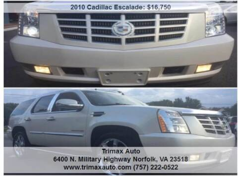 2010 Cadillac Escalade for sale at Trimax Auto Group in Norfolk VA