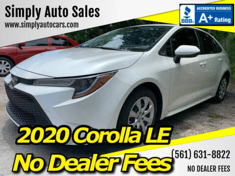 2020 Toyota Corolla for sale at Simply Auto Sales in Palm Beach Gardens FL