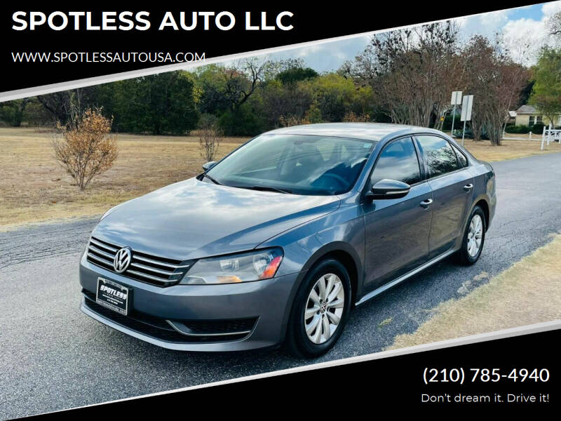 2012 Volkswagen Passat for sale at SPOTLESS AUTO LLC in San Antonio TX