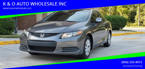 2012 Honda Civic for sale at K & O AUTO WHOLESALE INC in Jacksonville FL