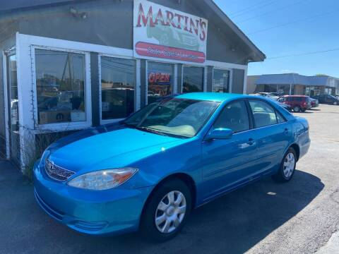 2002 Toyota Camry for sale at Martins Auto Sales in Shelbyville KY