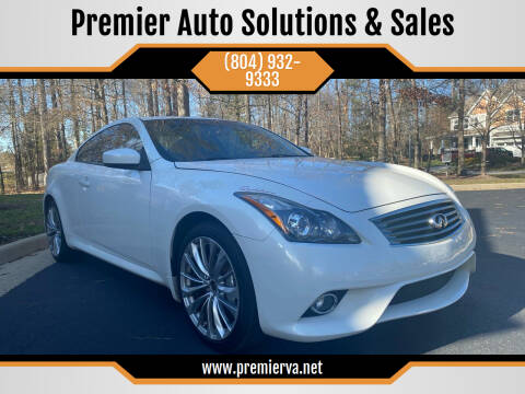 2013 Infiniti G37 Coupe for sale at Premier Auto Solutions & Sales in Quinton VA