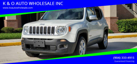 2016 Jeep Renegade for sale at K & O AUTO WHOLESALE INC in Jacksonville FL