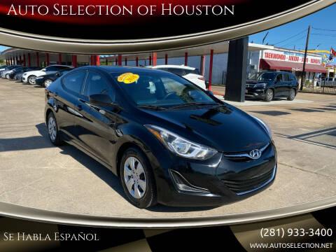 2016 Hyundai Elantra for sale at Auto Selection of Houston in Houston TX