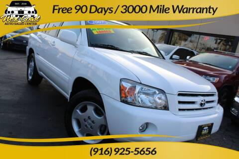 2007 Toyota Highlander for sale at West Coast Auto Sales Center in Sacramento CA
