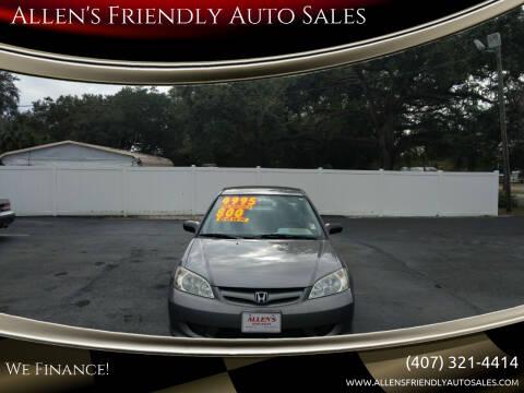 2004 Honda Civic for sale at Allen's Friendly Auto Sales in Sanford FL