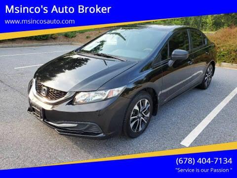 2015 Honda Civic for sale at Msinco's Auto Broker in Snellville GA
