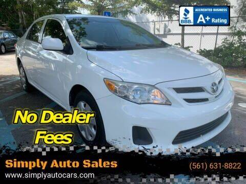 2013 Toyota Corolla for sale at Simply Auto Sales in Palm Beach Gardens FL