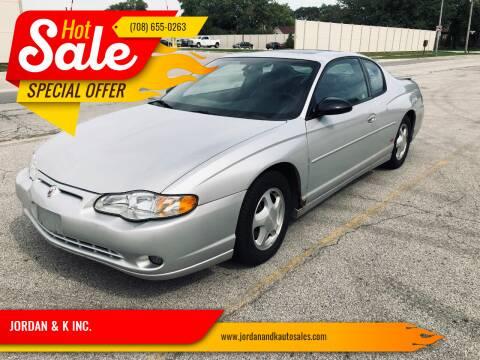 2004 Chevrolet Monte Carlo for sale at JORDAN & K INC. in River Grove IL