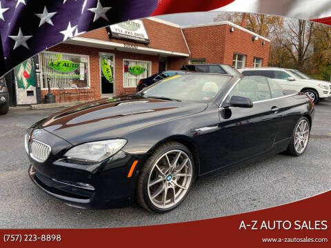 2012 BMW 6 Series for sale at A-Z Auto Sales in Newport News VA