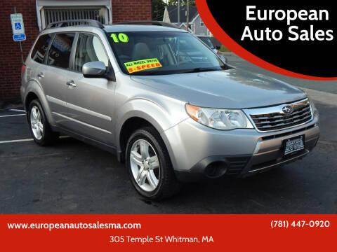 2010 Subaru Forester for sale at European Auto Sales in Whitman MA